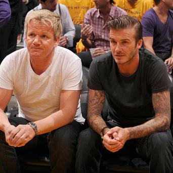 David Beckham spent his birthday watching basketball with pal Gordon Ramsay