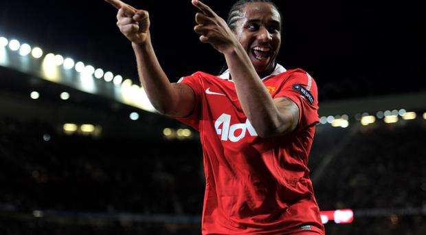 MANCHESTER, ENGLAND - MAY 04: Anderson of Manchester United celebrates scoring his team's fourth goal during the UEFA Champions League Semi Final second leg match between Manchester United and Schalke at Old Trafford on May 4, 2011 in Manchester, England. (Photo by Michael Regan/Getty Images)