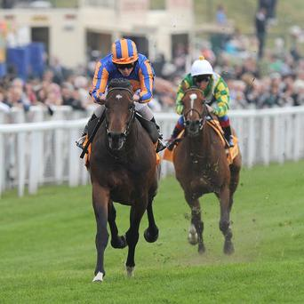 Await The Dawn storms clear in the Huxley Stakes at Chester