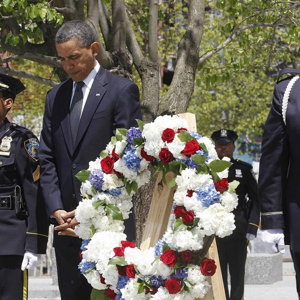 President Barack Obama lays a wreath at Ground Zero in New York (AP Photo/Charles Dharapak)