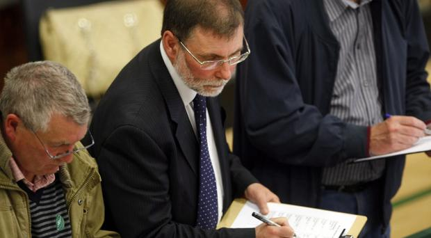 PACEMAKER BELFAST 6/5/2011DUP Nelson McCausland as the ballot boxes are opened for counting in the Valley Leisure Centre for the North Belfast Assembley election count in the Northern Ireland Assembely.Photo Colm O'Reilly/Pacemaker Press