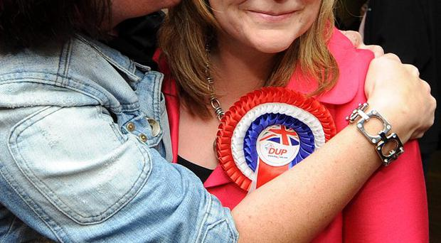 DUP's Michelle McIlveen who won a seat in the Strangford election at the count in Newtownards Leisure Centre in the Northern Ireland Assembly elections.