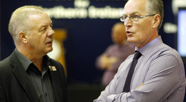 Raymond McCord (Independent) and Sinn Fein's Gerry Kelly at the count in Valley Leisure Centre