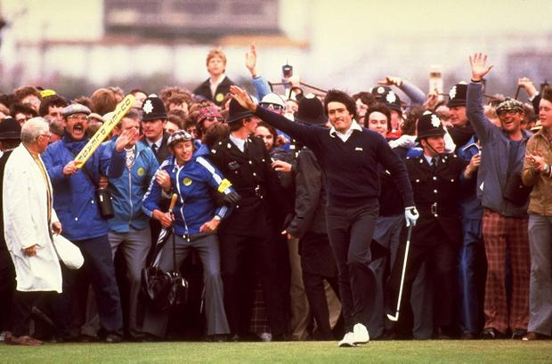(FILE PHOTO) Spanish Golf Legend Seve Ballesteros Dies At 54.Charismatic former World No. 1, five time Major winner, five time Ryder Cup winner, both as a player and as captainand winner of the European Tour's Order of Merit on six occasions.http://www.gettyimages.co.uk/Search/Search.aspx?EventId=113809426 Seve Ballesteros of Spain acknowledges the crowd after holing his putt on the 18th green to win the British Open at the Royal Lytham Golf Club in Lancashire, England, July 21, 1979. \ Mandatory Credit: Steve Powell/Allsport