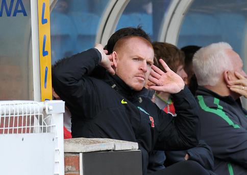 Celtic manager Neil Lennon gestures to the fans during the Clydesdale Bank Scottish Premier League match at Rugby Park, Kilmarnock