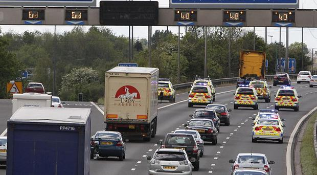 A 'go slow' fuel protest on the M60 in Manchester