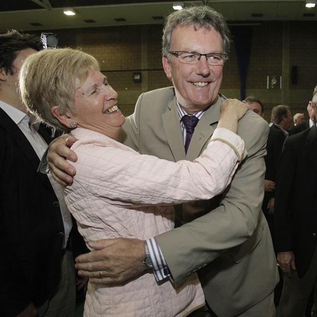 Former UTV journalist Mike Nesbitt is congratulated after being elected in Strangford