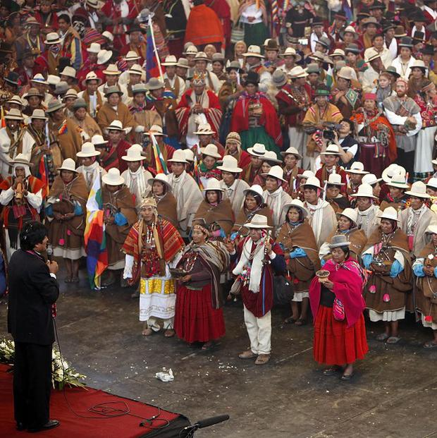 Bolivia's President Evo Morales delivers a speech during a traditional Andean indigenous mass wedding in La Paz (AP)