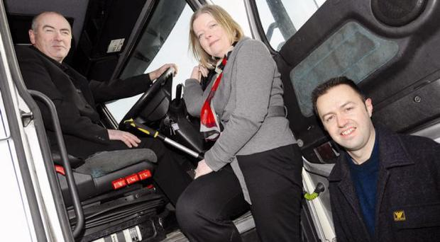 FOOT UP: Harry Connor with SERC's Rosemary Parker and Mark McAlinden