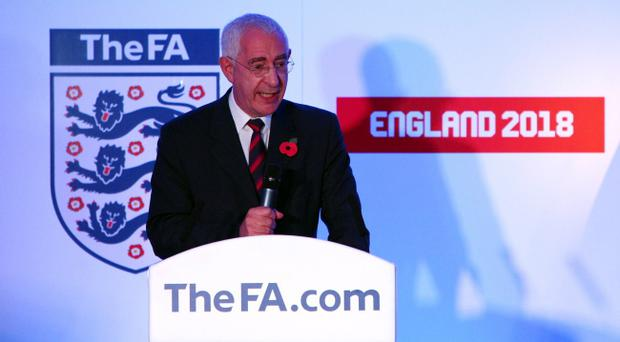 LONDON, ENGLAND - NOVEMBER 06: Chairman of The FA Lord Triesman addresses the guests during the official unveiling of the sculpture of Sir Alf Ramsey at Wembley Stadium on November 6, 2009 in London, England. (Photo by John Gichigi - FA /Getty Images)