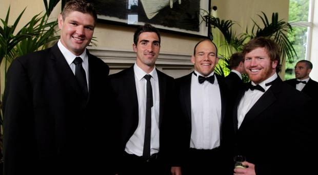The Heineken Ulster Rugby Awards dinner at the Culloden Hotel, Co. Down. Ulster Rugby players Johann Muller, Ruan Pienaar, BJ Botha and Andi Kyriacou