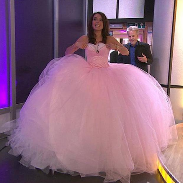 Christine Bleakley tries on the massive wedding dress featured in the documentary My Big Fat Gypsy Wedding
