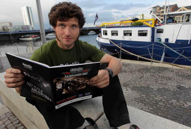 Guy Martin pictured on board the barge MV Confiance at the final press launch of the Relentless North West 200 that kicks off next week