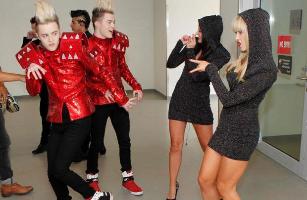 Jedward - during last minute rehersals with Backing singers Morgan Deane and Leanne Moore in Dusseldorf