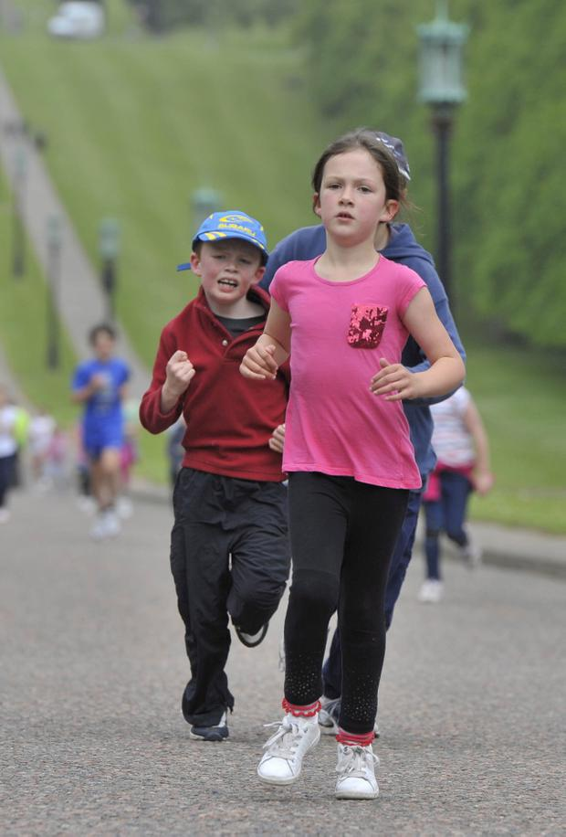 Press Eye Belfast - Northern Ireland - 15th May 2011 - Picture ©Angus Bicker/Presseye.Belfast Telegraph Runher 2011 event at Stormont, Belfast.Runners in the childrens race.