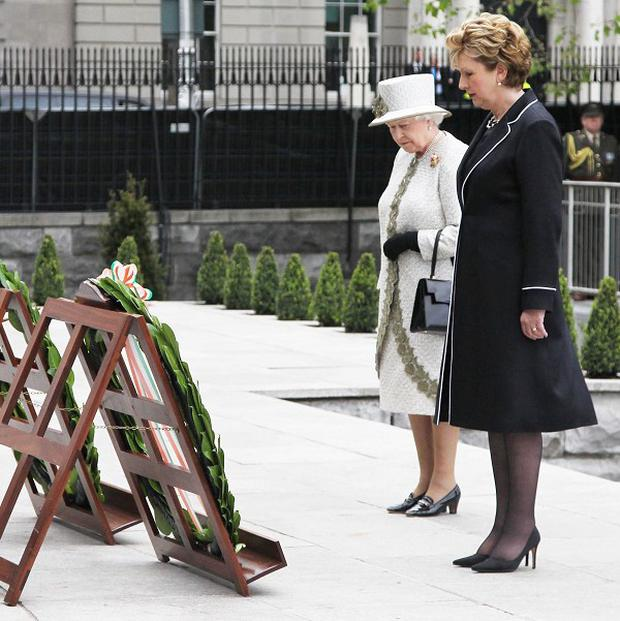 The Queen joined Irish President Mary McAleese to lay at wreath at the Garden of Remembrance in Parnell Square, Dublin