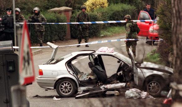The remains of Solicitor Rosemary Nelson's BMW car after she was fatally injured in an under car booby trap bomb attack outside her home in Lurgan