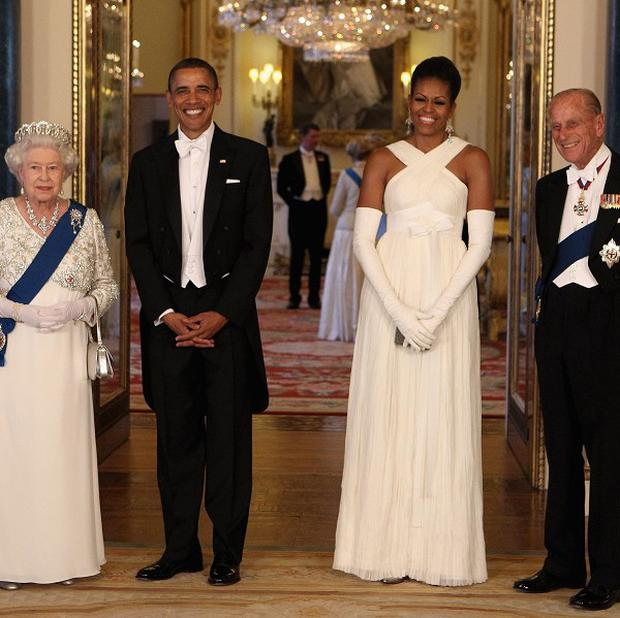 The Queen and Duke of Edinburgh with US President Barack Obama and wife Michelle in the Music Room of Buckingham Palace ahead of a state banquet