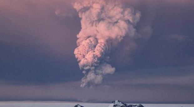 Smoke plumes from Iceland's Grimsvotn volcano which began erupting on Saturday for the first time since 2004 (AP)