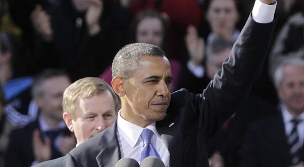 US President Barack Obama delivers his speech in College Green, Dublin