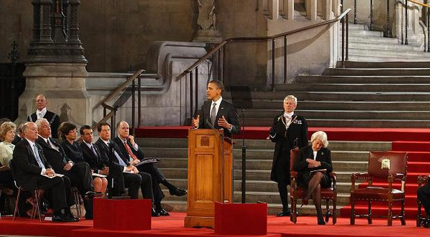 US president Barack Obama delivers his keynote speech to both Houses of Parliament in the historic Westminster Hall