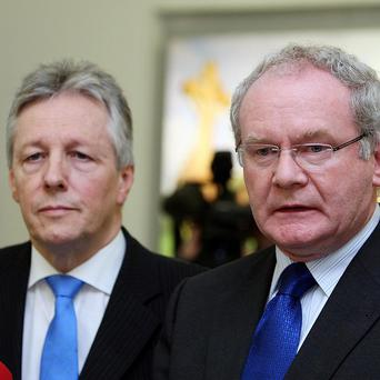 Martin McGuinness (right) with Peter Robinson