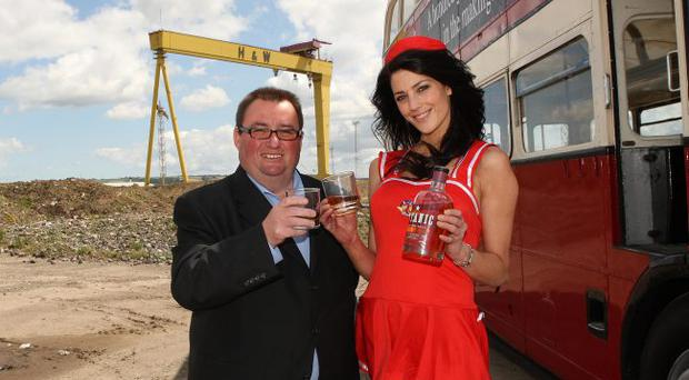 National Lottery winner and Managing Director of the Belfast distillery Co Ltd Peter Lavery with Model Kellyanne McKendry launching the 10 year old Titanic Irish Whiskey blend 100 years to the day after the original launch of the iconic Titanic White Star liner sailed out of Belfast.