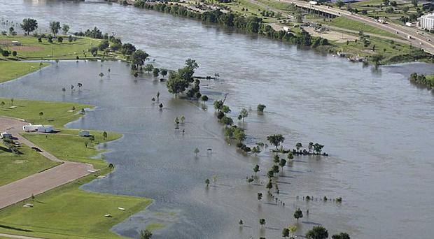 Residents have been urged to evacuate their homes in three US cities amid fears of flooding along the Missouri River (AP)