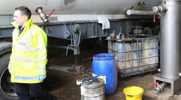 An oil laundering plant in Co Monaghan has been raided