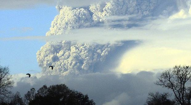 A column of smoke and ash spews out from the Puyehue volcano in Chile (AP)