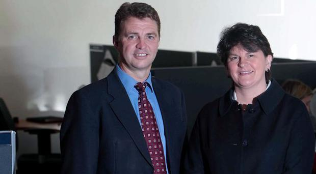 Micro Focus' Paul Rodgers with Arlene Foster