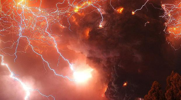 Lightning strikes over the Puyehue volcano in Chile (AP)