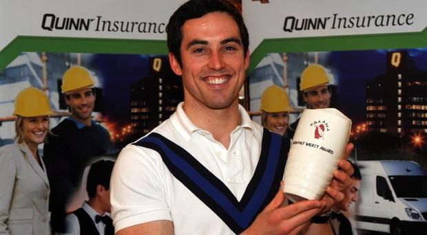 Armagh's Aaron Kernan shows off his Quinn Insurance Ulster GAA Writers' Monthly Merit award