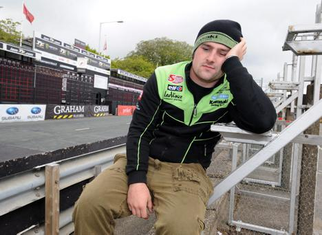 Michael Dunlop shows his frustration yesterday after the TT was cancelled