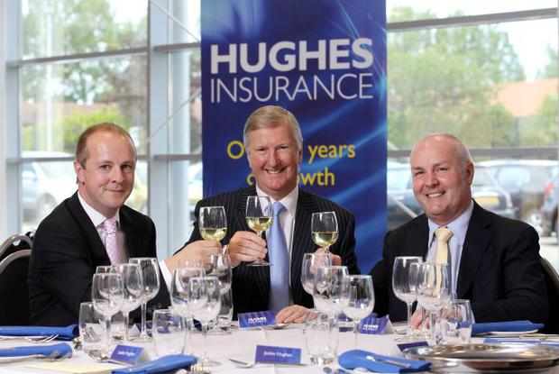 Announcing the creation of 55 new jobs at Hughes Insurance are (from left) chief executive Gareth Brady, chairman Leslie Hughes and personal lines director Gerry Shearer. Hughes Insurance has also announced that one in five drivers in Northern Ireland are now insured through the company