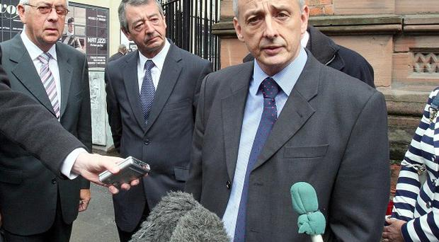 Gordon Buchanan, brother of Trevor Buchanan, speaks as he leaves Belfast Coroners Court