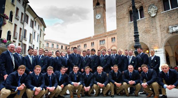 Players and officials from the Ireland Under-20 squad in Treviso on the eve of their World championship opener against England