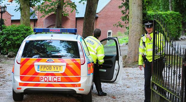 Police at the home of Conservative MP Andrew Bridgen in Coalville, Leicestershire