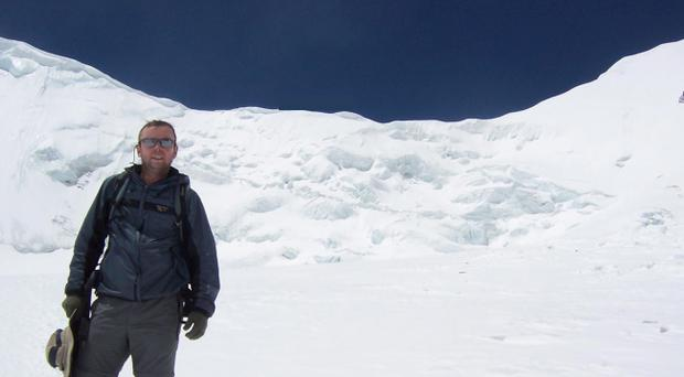 Geoff Chambers during his epic trip to climb Mount Everest