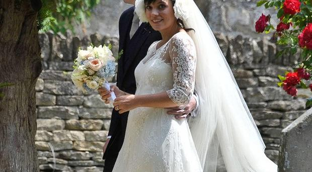 Lily Allen and her new husband Sam Cooper after their wedding
