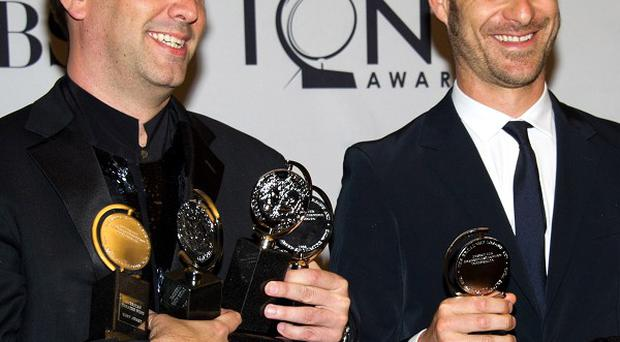 South Park creators Trey Parker, left, and Matt Stone with their Tony Awards bounty