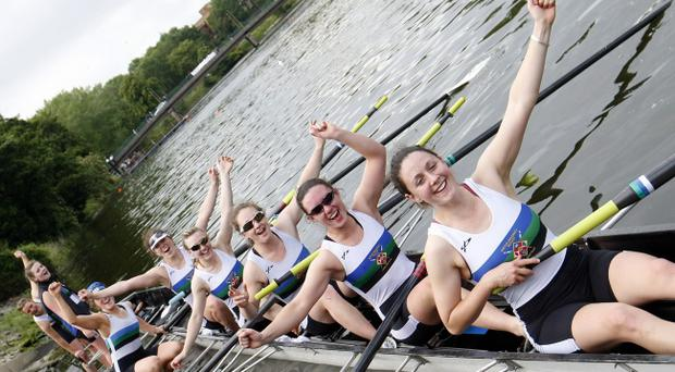 Pacemaker Press Intl 11-06-2011Cox Ellen Thompson celebrate with her Queens University Senior Women boat crew as they celebrate beating Cork in the 8th Annual University Boat Race. Pic Colm O'Reilly Pacemaker Press Intl 11-06-2011