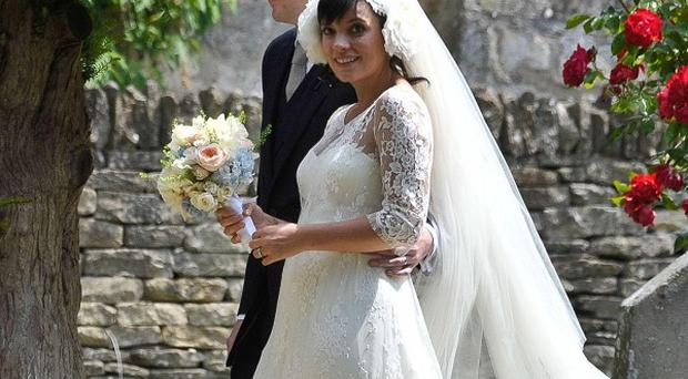 Lily Allen and her new husband Sam Cooper leave St James The Great Church in Cranham