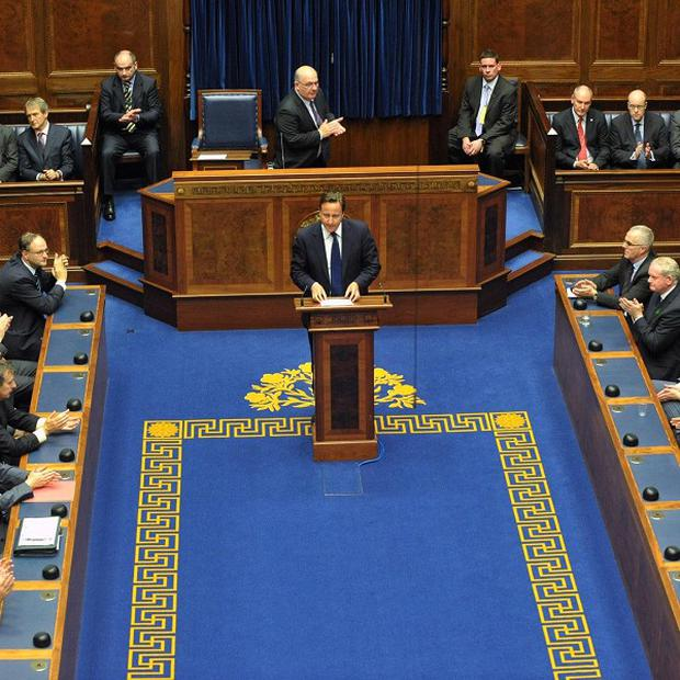 Prime Minister David Cameron addresses the Northern Ireland Assembly at Stormont