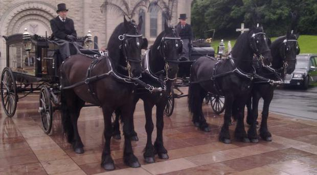 Saintfield man George Fawcett hires out his Friesian horses for weddings — and funerals. Mr Fawcett charges between £600-800 for the use of horse-drawn hearses and said that clients chose his services for a more 'traditional' funeral