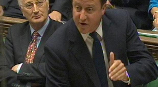 David Cameron speaks during Prime Minister's Questions in the Commons