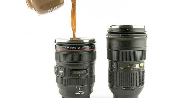 <b>CAMERA LENS: </b>No not the lens of some paparazzo's camera, this is actually a mug, with a handy lid that also doubles as a coaster. £14.50, clickshop.com