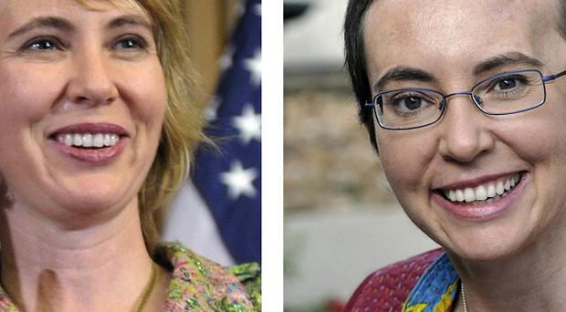 US congresswoman Gabrielle Giffords before and after the shooting (AP)