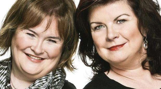 Susan Boyle, left, and actress Elaine C Smith, who is to portray the Scottish singer in the stage musical, I Dreamed A Dream