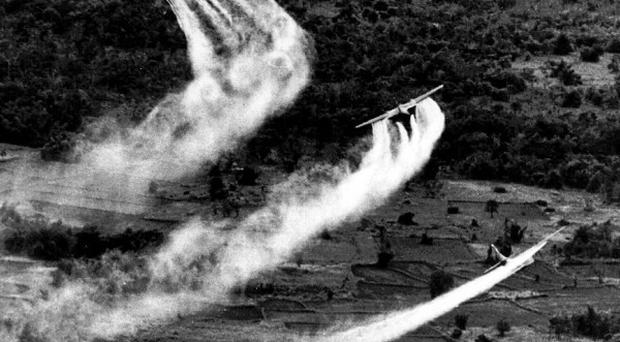 US Air Force planes spray the defoliant chemical Agent Orange over dense vegetation in South Vietnam in 1966 (AP)